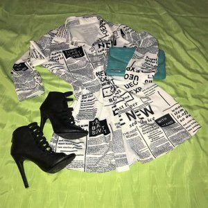 Unbranded Newspaper Print Shirt Dress Sz M